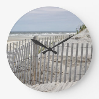 Ocean beach and sand dunes large clock