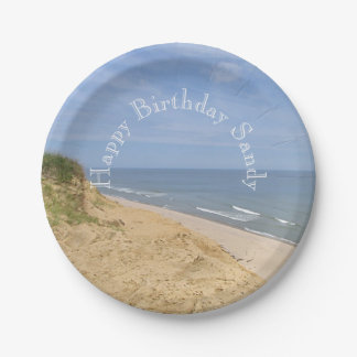 Ocean beach from the bluff 7 inch paper plate