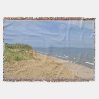 Ocean beach from the bluff throw blanket
