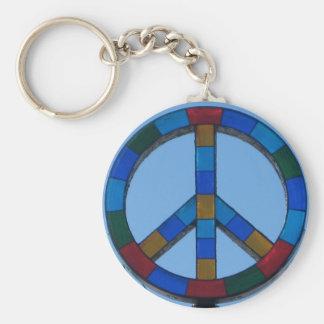Ocean Beach Peace Sign Basic Round Button Keychain