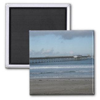 Ocean Beach Pier Winter Square Magnet