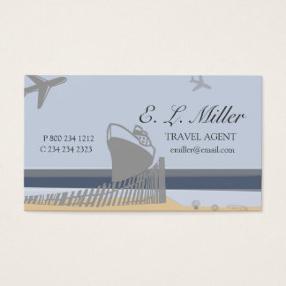 Ocean Beach Plane Travel Agent Cruise Ship Business Card