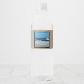 ocean beach rocks NJ photo water bottle label