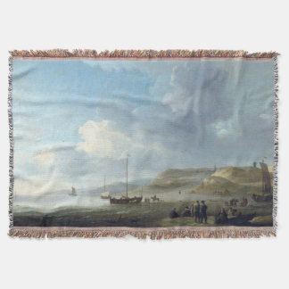 Ocean Beach Sailboats Fishermen Boat Throw Blanket
