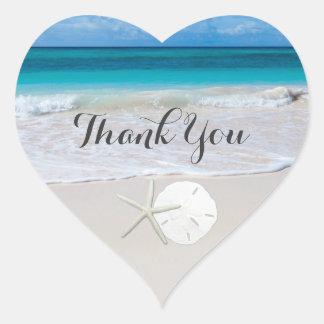 Ocean Beach Starfish Sand Dollar Thank You Heart Sticker