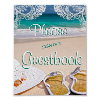 Ocean Beach Summer Guestbook Wedding Sign