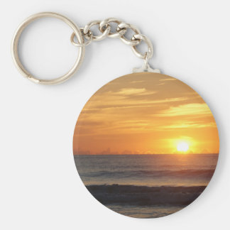 Ocean beach sunrise color photo keychain
