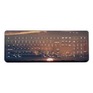 Ocean Beach Sunset Seagull Bird Wireless Keyboard