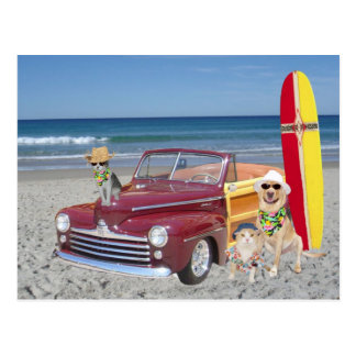 Ocean/Beach/Surfing/Woodie Postcard