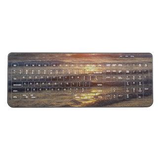 Ocean Beach Waves Gold Water Wireless Keyboard