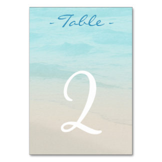 Ocean Beach Wedding Table Number Card