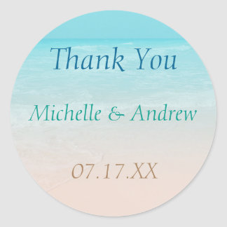 Ocean Beach Wedding Thank You Sticker