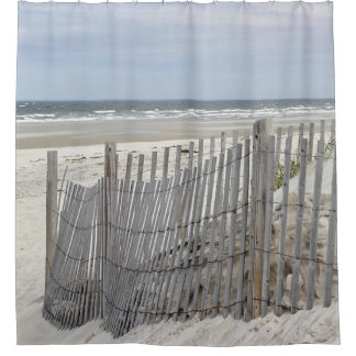 Ocean Beach with weathered fence