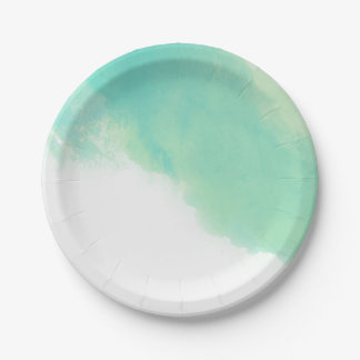 Ocean Blue Abstract Watercolor Wedding 7 Inch Paper Plate