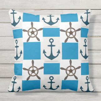 Ocean Blue Anchor Nautical Beach Outdoor Pillow