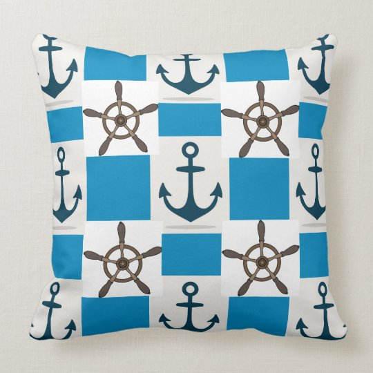 Ocean blue anchor nautical summer large pillow