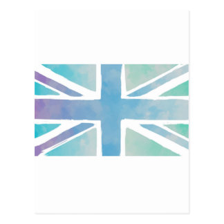 Ocean Blue and Green - Watercolor British Flag Postcard