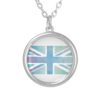 Ocean Blue and Green - Watercolor British Flag Silver Plated Necklace