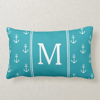 Ocean Blue and White Anchors Monogram Lumbar Pillow