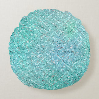 Ocean Blue Beach Home Tiffany Mint Green Aqua Glam Round Pillow