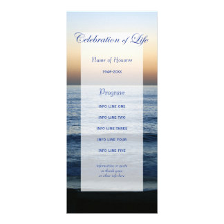 Ocean Blue Celebration of Life program card Custom Rack Card