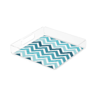 Ocean Blue Chevron Ombre ZigZag Pattern Perfume Tray