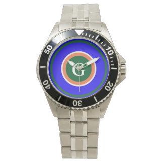 Ocean Blue Circular Green Design Watch