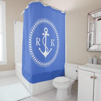 Ocean Blue Coastal Decor Monogram and Ship Anchor