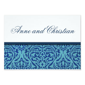 Ocean Blue Damask Wedding Invitation