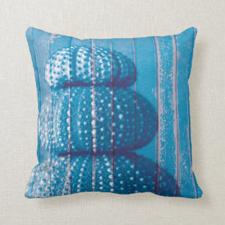 Ocean Blue Distressed Wood Sea Urchins Texture Throw Pillow