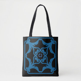 Ocean Blue Four Hearts Flower Bordered Pattern Tote Bag
