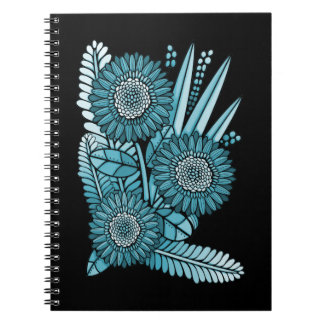 Ocean Blue Gerbera Daisy Flower Bouquet Notebook