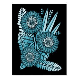 Ocean Blue Gerbera Daisy Flower Bouquet Postcard