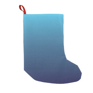 Ocean blue gradient template small christmas stocking