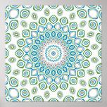 Ocean Blue, Gray & White Kaleidoscope Flowers Posters