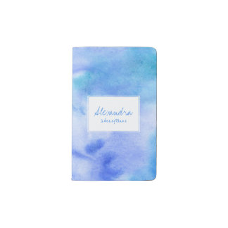 Ocean blue hand painted splashed with white label pocket moleskine notebook