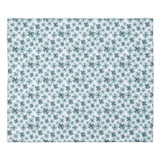 Ocean Blue Lucky Shamrock Clover Duvet Cover