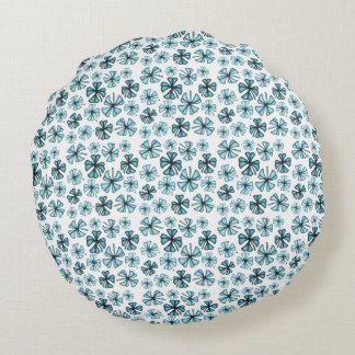 Ocean Blue Lucky Shamrock Clover Round Pillow