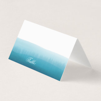 Ocean Blue Ombre Watercolor Blank Table Guest Place Card