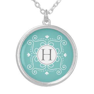 Ocean blue ornament personalized monogram initial necklaces
