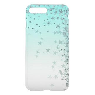 Ocean Blue Pastel Ombre Silver Glitter Stars iPhone 8 Plus/7 Plus Case