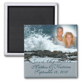 Ocean Blue/ Save the Date Square Magnet