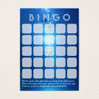 Ocean Blue Sea Themed 5x5 Bridal Bingo Card