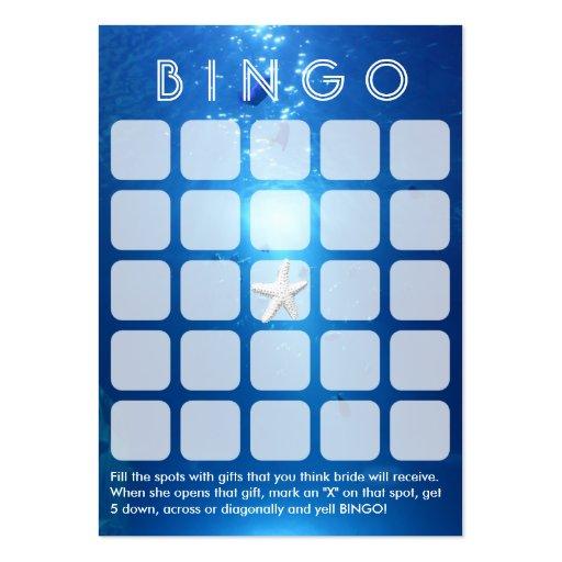Ocean Blue Sea Themed 5x5 Bridal Bingo Card Business Card