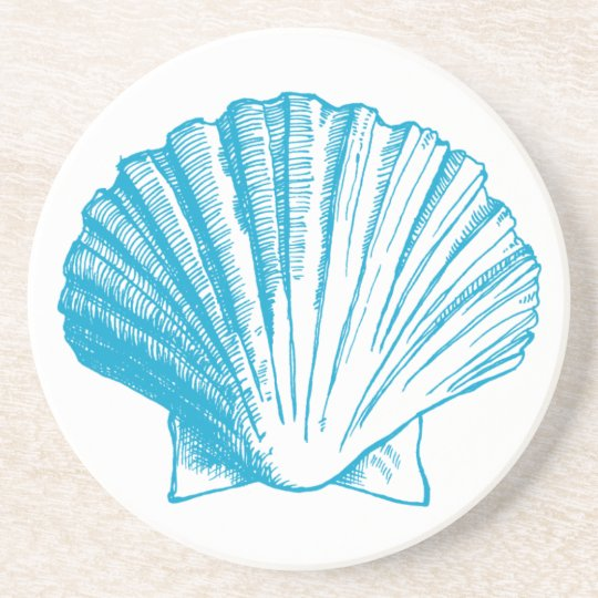 Ocean Blue Seashell Coaster