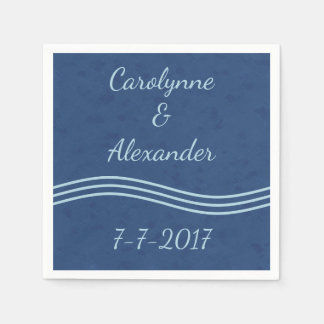 Ocean Blue Simple Wave Monogram Paper Napkins