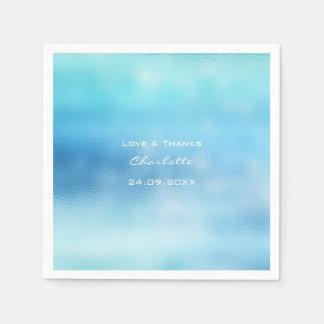 Ocean Blue Sky Ombre Glass White Aqua See Delicate Napkin