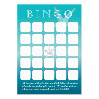 Ocean Blue Starfish 5x5 Bridal Shower Bingo Card Business Card Templates