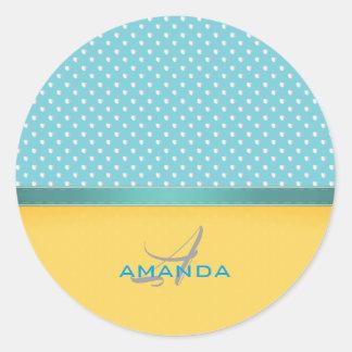 Ocean Blue, Sunny Beach, Silver Hearts Monogram Classic Round Sticker