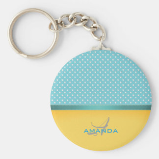 Ocean Blue, Sunny Beach, Silver Hearts Monogram Keychain